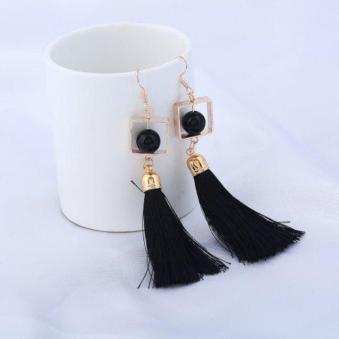 Fashion Hollow Rhombus Tassel Pendant Fish Hook Earrings BLACK