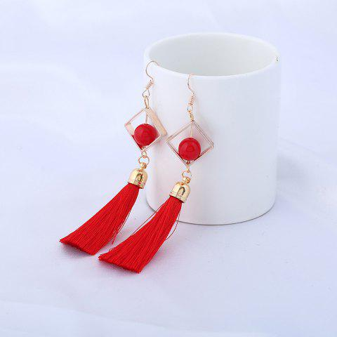 Shops Hollow Rhombus Tassel Pendant Fish Hook Earrings - RED  Mobile