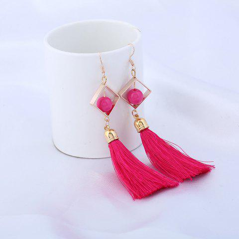 Fancy Hollow Rhombus Tassel Pendant Fish Hook Earrings