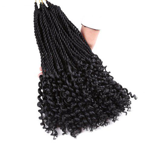 Trendy Long Crochet Pre Twisted Flashy Curl Braids Hair Extensions - 16INCH BLACK Mobile