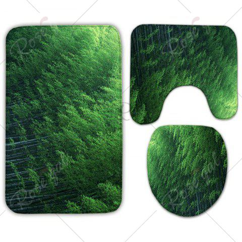 New Flannel Skidproof 3Pcs Bamboo Forest Toilet Mat Set - GREEN  Mobile