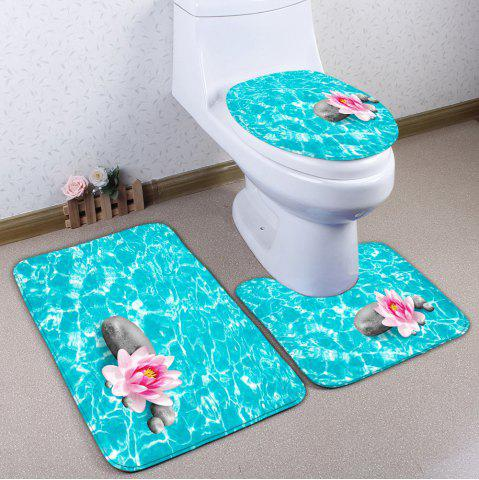 Online 3Pcs Flannel Lotus Flower Soft Absorbent Bath Mats Set PANTONE TURQUOISE
