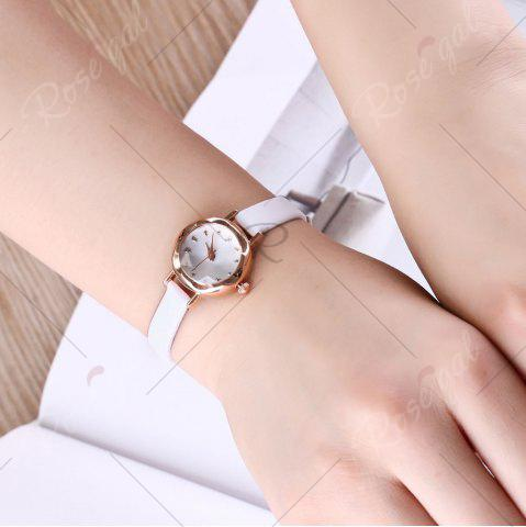 Outfit Faux Leather Strap Simple Roundel Watch - WHITE  Mobile