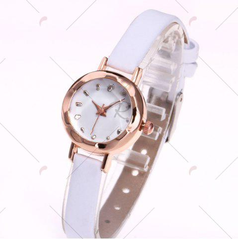 Cheap Faux Leather Strap Simple Roundel Watch - WHITE  Mobile