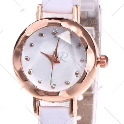Online Faux Leather Strap Simple Roundel Watch - WHITE  Mobile