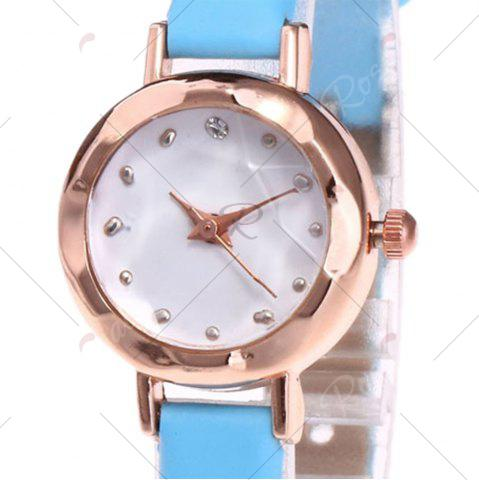 Latest Faux Leather Strap Simple Roundel Watch - AZURE  Mobile