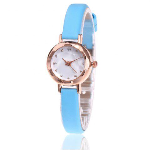 Outfit Faux Leather Strap Simple Roundel Watch - AZURE  Mobile