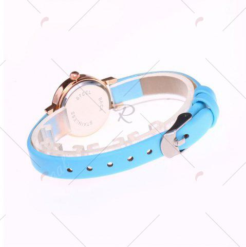 Online Faux Leather Strap Simple Roundel Watch - AZURE  Mobile