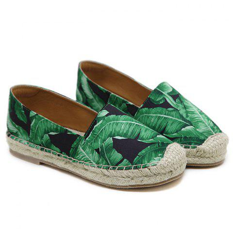 Sale Tropical Print Slip On Espadrille Flats - 37 BLACK Mobile