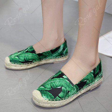 New Tropical Print Slip On Espadrille Flats - 40 BLACK Mobile