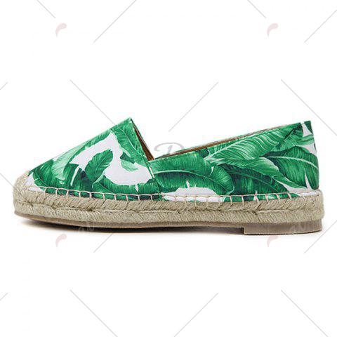 Shop Tropical Print Slip On Espadrille Flats - 39 WHITE Mobile