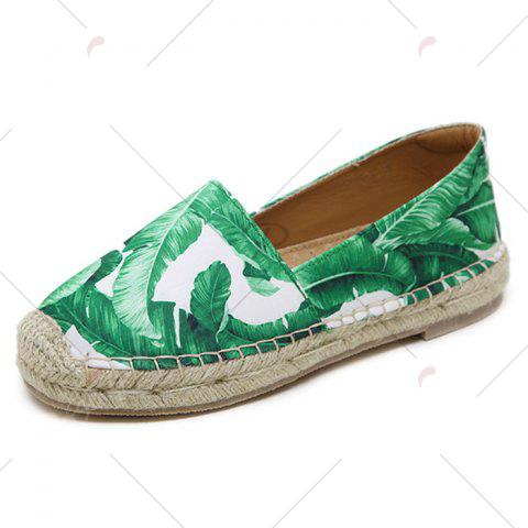 Affordable Tropical Print Slip On Espadrille Flats - 37 WHITE Mobile