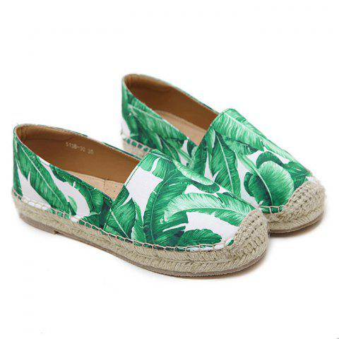 Trendy Tropical Print Slip On Espadrille Flats - 38 WHITE Mobile