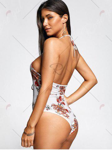 Shop Lace Up Front One Piece Flower Swimsuit - S WHITE Mobile