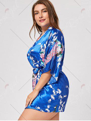 Shop Floral Plus Size Satin Kimono Pajama - L ROYAL Mobile
