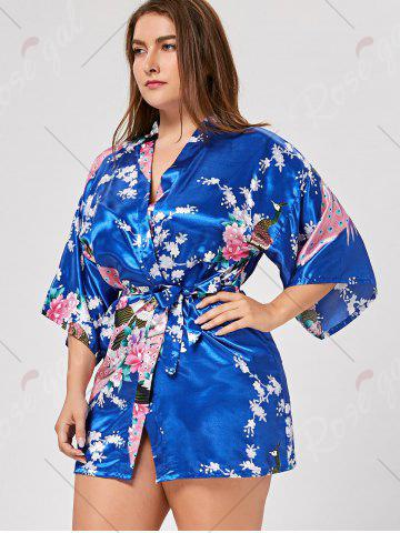Fancy Floral Plus Size Satin Kimono Pajama - L ROYAL Mobile