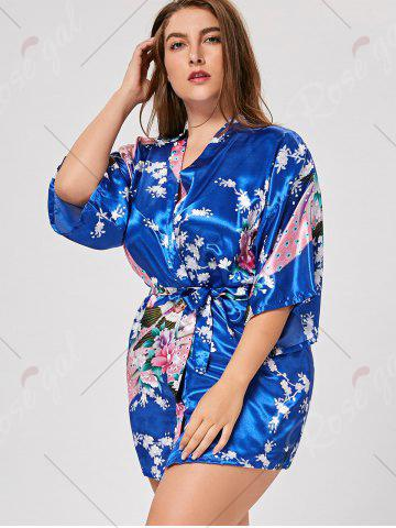 Trendy Floral Plus Size Satin Kimono Pajama - L ROYAL Mobile