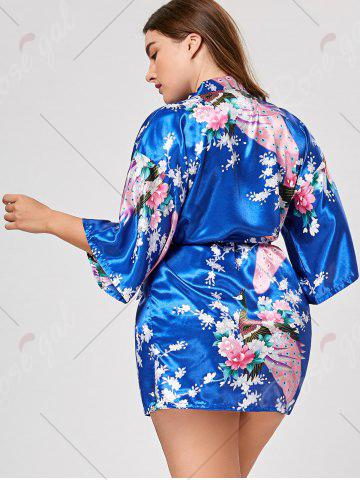 Hot Floral Plus Size Satin Kimono Pajama - L ROYAL Mobile