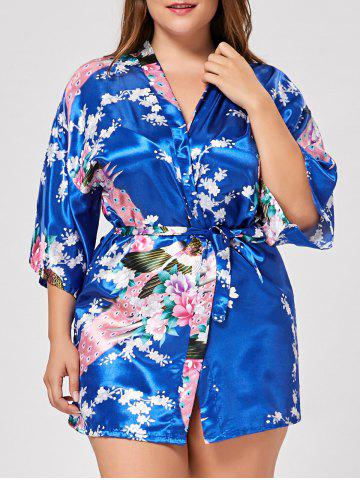 Affordable Floral Plus Size Satin Kimono Pajama - L ROYAL Mobile