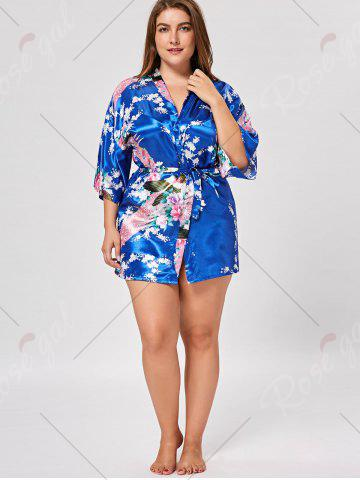 Fashion Floral Plus Size Satin Kimono Pajama - L ROYAL Mobile