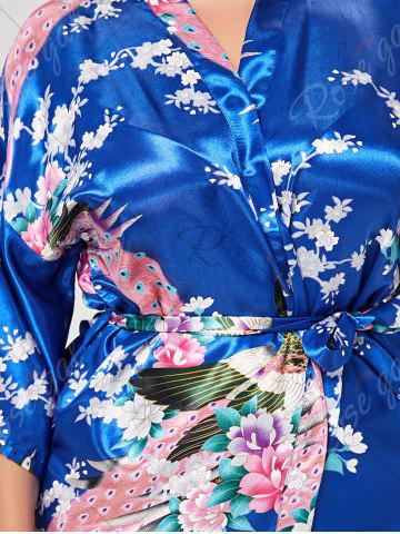 Discount Floral Plus Size Satin Kimono Pajama - L ROYAL Mobile