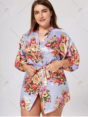 Chic Floral Plus Size Satin Pajama Kimono - 2XL LIGHT PURPLE Mobile