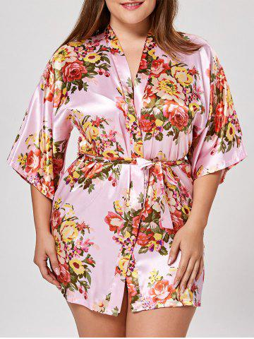 Cheap Floral Plus Size Satin Pajama Kimono - L PINK Mobile