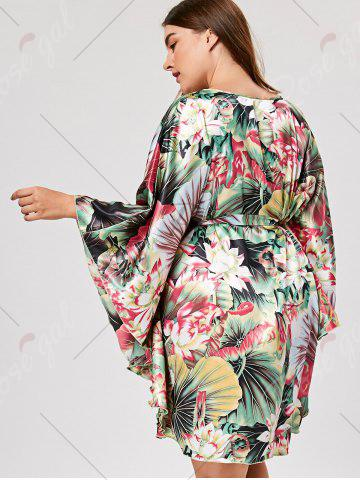 New Plus Size Tunic Sleepwear with Batwing Sleeve - ONE SIZE GREEN Mobile