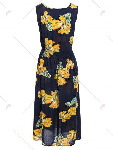 Outfit Handpainted Flower Elastic Waist Sleeveless Maxi Dress - ONE SIZE COLORMIX Mobile