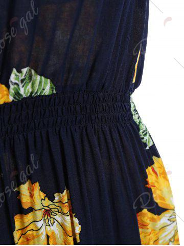 Discount Handpainted Flower Elastic Waist Sleeveless Maxi Dress - ONE SIZE COLORMIX Mobile