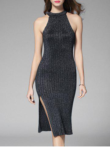High Slit Sleeveless Knitted Ribbed Metal Dress