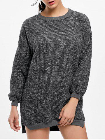 Latest Crew Neck Ribbed Mini Casual Sweater Dress GRAY ONE SIZE