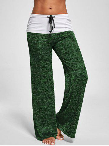Affordable Foldover Heather Palazzo Pants SHAMROCK 2XL