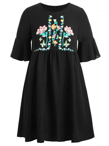 Plus  Size Flare Sleeve Floral Tunic Top - Black - 2xl
