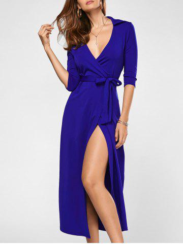 Outfits Surplice Tie Long Slit Wrap Evening Dress - M BLUE Mobile
