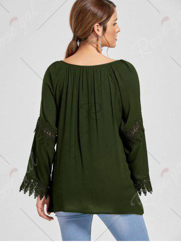 Hot Flare Sleeve Lace Insert Bohemian Blouse - M OLIVE GREEN Mobile