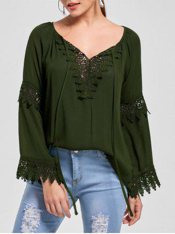 Best Flare Sleeve Lace Insert Bohemian Blouse OLIVE GREEN XL