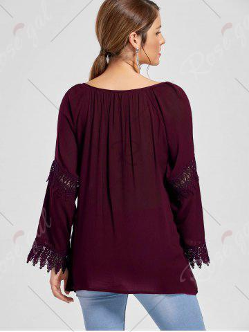 New Flare Sleeve Lace Insert Bohemian Blouse - 2XL DARK RED Mobile