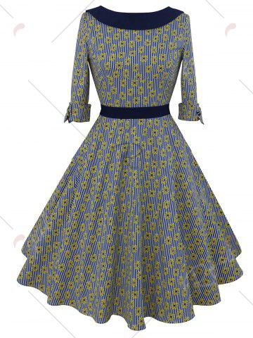 Outfits Striped Floral Belted Bowknot Dress - XL COLORMIX Mobile