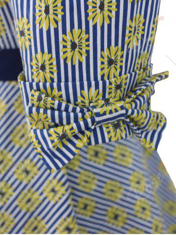 New Striped Floral Belted Bowknot Dress - XL COLORMIX Mobile
