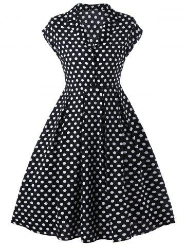 Unique Notched Collar Polka Dot 50s Swing Dress