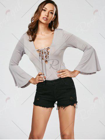 Cheap Lace Up Flare Sleeve Bodysuit - S GRAY Mobile