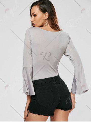 New Lace Up Flare Sleeve Bodysuit - L GRAY Mobile