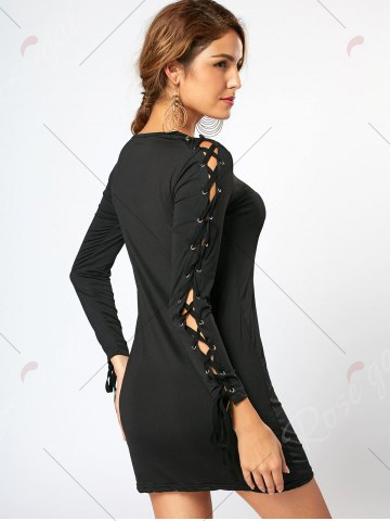 Outfits Lace Up Long Sleeve Mini Bodycon Dress - S BLACK Mobile