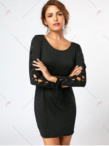 Chic Lace Up Long Sleeve Mini Bodycon Dress - S BLACK Mobile