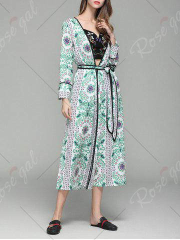 Cheap Flower Print Long Sleeve Maxi Cover Up - M FLORAL Mobile