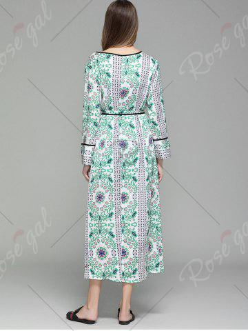 Trendy Flower Print Long Sleeve Maxi Cover Up - M FLORAL Mobile