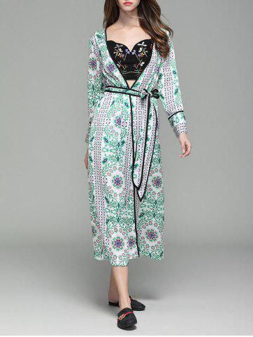 Cheap Flower Print Long Sleeve Maxi Cover Up FLORAL L