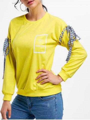 Sale Long Sleeves Tie Print Sweatshirt - ONE SIZE YELLOW Mobile