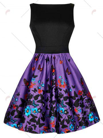New Floral Butterfly Print Bowknot Vintage Dress - S COLORMIX Mobile